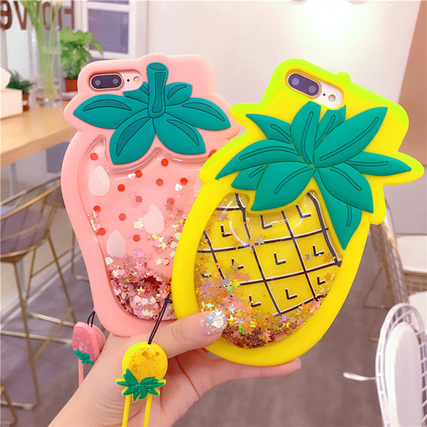 Liquid Glitter Quicksand Cases for iPhone x 8 7 6 6s Plus Silicone Cute 3D Fruit Pineapple Cover for iPhone xs max case