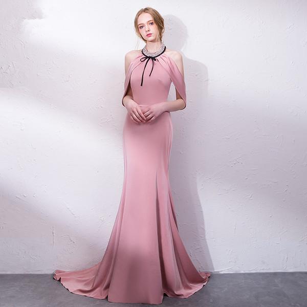 Compre Elegante Rosa Tafetán Vestido De Fiesta Con Cuello En O Con ...
