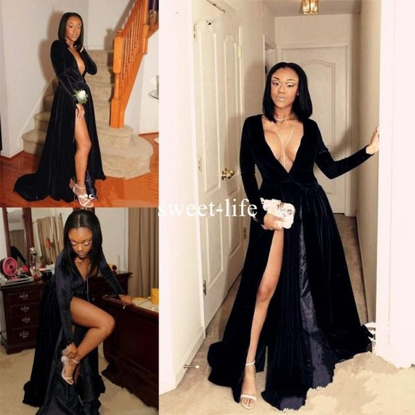 2018 Hot Sexy Deep V Neck Evening Gowns Black Long Sleeves High Split African Prom Dresses Custom Made Cocktail Formal Party Dresses