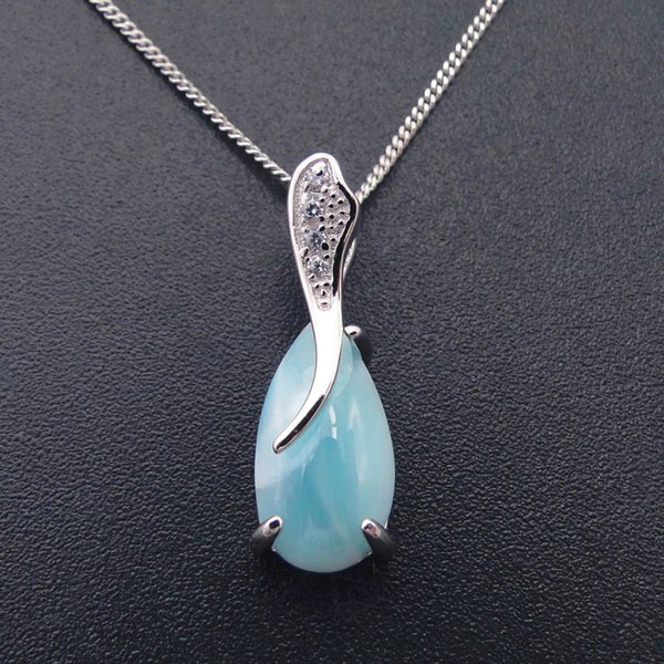 Fashion 18*7.5MM Larimar Pendant Water drop shaped Real 925 Sterling Silver Natural Larimar Ocean Stone Charm Pendant for Lady S18101308