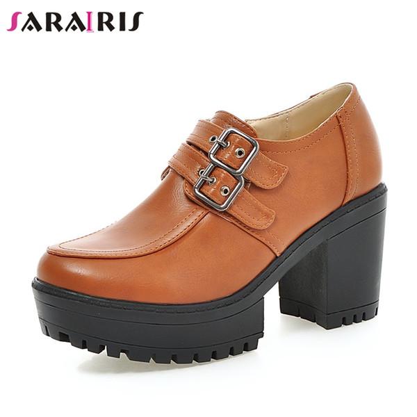 Atacado 2019 Primavera Outono Grande Tamanho 34-43 Mulheres Plataforma de Bombas Moda Fivela Cinta Alta Sapatos de Salto Largo Mulher
