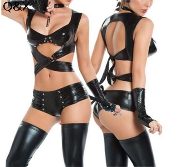 PS9 2017 Women Sexy Lingerie Imitation Leather Cat Women Cosplay Costumes Club Evening Party Wear Set Halloween Cosplay Costums