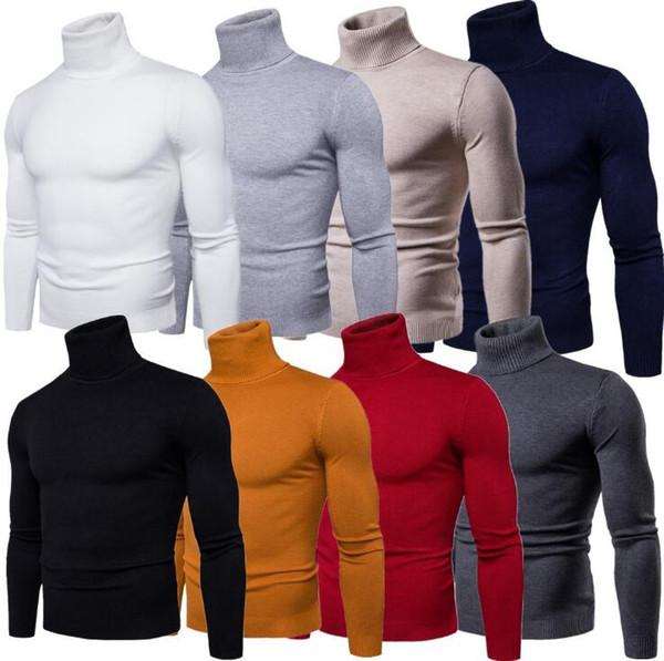 Pullover a maniche lunghe da uomo autunno inverno con collo alto e maniche lunghe