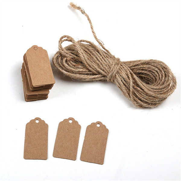 best selling 1000pcs Brown Kraft Paper Tags Lace Scallop Head Label Luggage Wedding Note +String DIY Blank price Hang tag