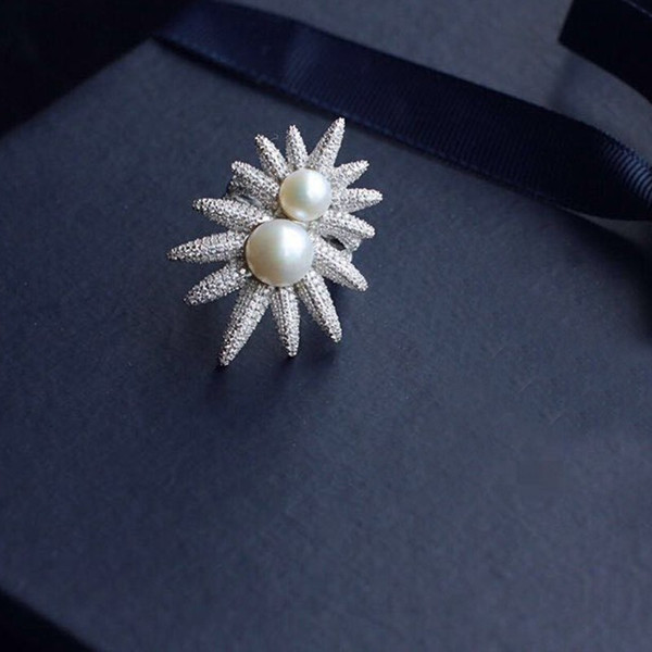 Monaco apm sunflower ring,Double pearl ring 925 sterling silver AAA zircon knuckle ring Free shipping