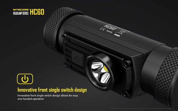 Nitecore HC60 high performance rechargable Lightweight headlamp with NL189 18650 3400mah battery for hiking, climbing, camping and general o