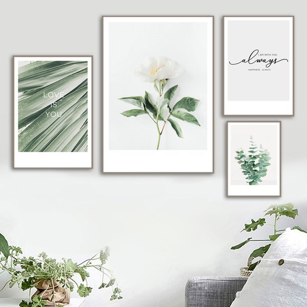 White Rose Green Leaves Wall Art Canvas Painting Nordic Minimalism Posters And Prints Wall Pictures For Living Room Quadro Decor