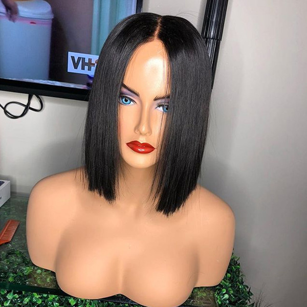9A Light Yaki Short Human Hair Bob Wigs With Baby Hair Pre Plucked Brazilian Virgin Bob Lace Front Wigs For Black Women