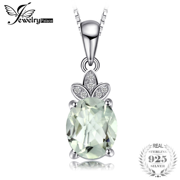 JewelryPalace Classic 1.8ct Natural Green Amethyst White Rock Quartz Pendant Necklace 925 Sterling Silver Without a Chain