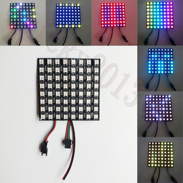 5V WS2812B 5050 RGB LED 64 Pixel Flexible Panel Light Individual Addressable Programmable Matrix 8cm x 8cm for Digital Display Screen