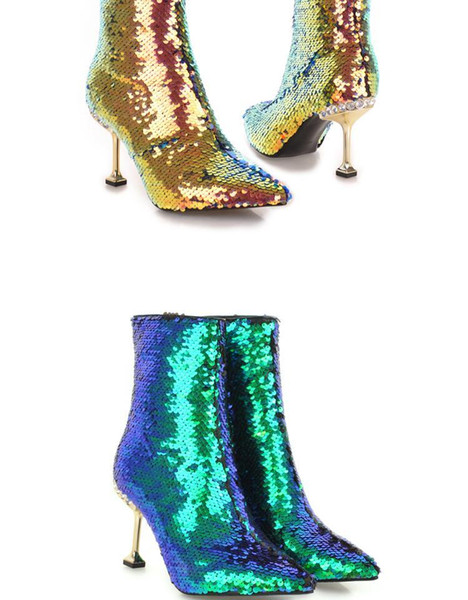 US4-11 Womens Ankle Boots Sequins Bling Stilettos Metal Heel Side Zipper Shoes Plus Size Gold Sliver Green Sliver White