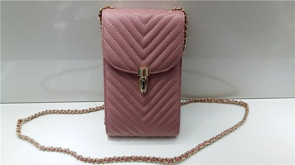 New Fresh Style Cell Phone Bags Fashion V Lattice Thread Cross Body MINI BAG Lambskin leather lady shoulder bag small chains with card purse