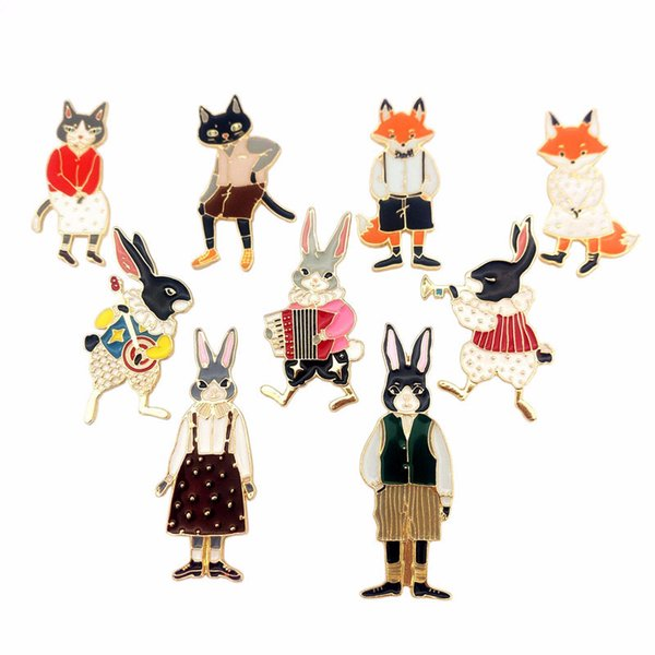 Cat, rabbit, fox, cute original oil-dripping brooch, wholesale collar pin, brassiere armband, clothing accessories