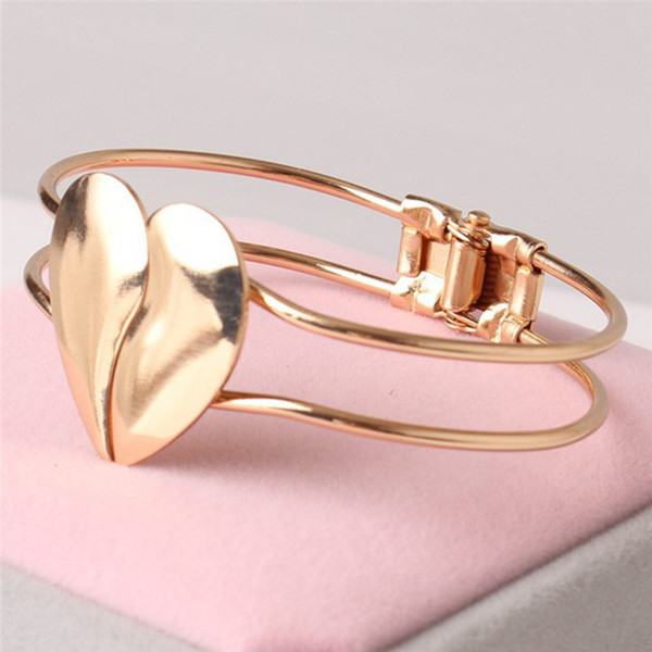 Link Chain Gold wristband charms a bracelet women's Heart Cuff bracelets Bangles for women gifts Fashion jewelry