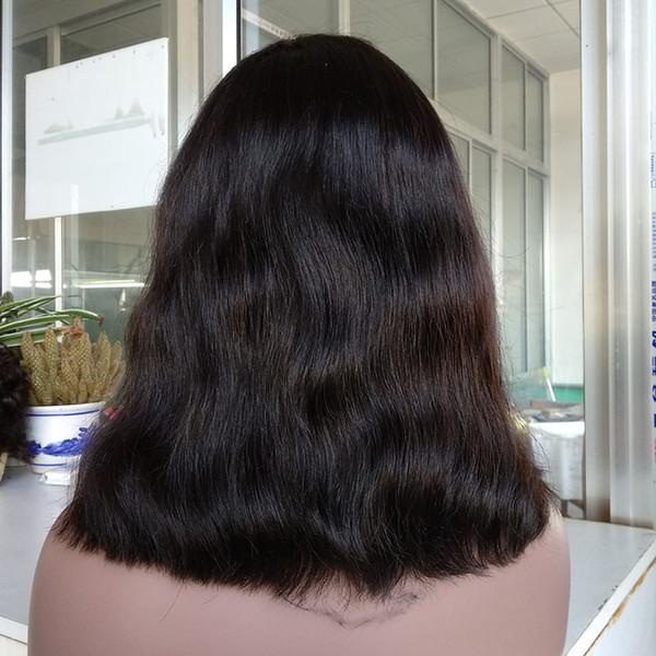 Peluca delantera del cordón del estilo de bob del estilo virginal humano natural de la onda recta, peluca de bob del color natural para las mujeres negras