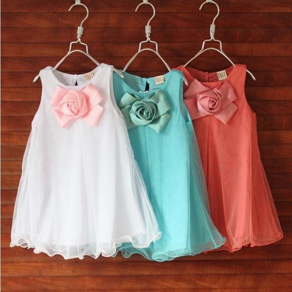 Versión coreana de verano de la nueva niñas grandes cofre tridimensional chaleco de flores falda tridimensional vestido de niña de las flores fábrica Liquidación