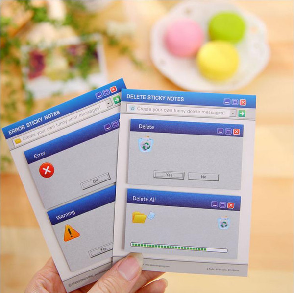 top popular 1 Piece Korean ERROR   DELETE Sticky Notes Creative Post Notepad Filofax Memo Pads Office Supplies School Stationery Scratch 2020