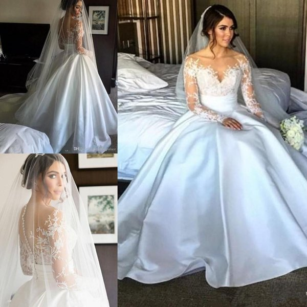 Long Sleeve Lace A-line Wedding Dresses With Illusion Back Button Back 2018 Satin Overskirts Princess Bridal Wedding Gowns Bride Dresses