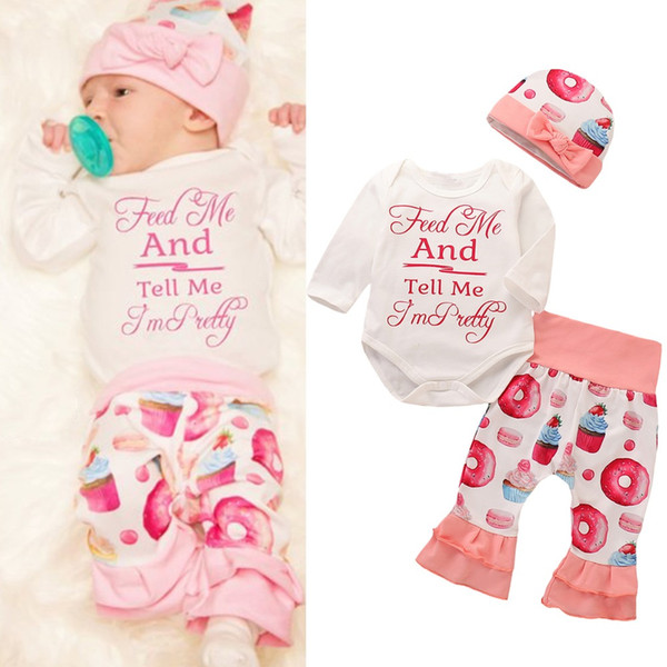 Puseky 3Pcs Donut Printed Romper Set Long Sleeve Letter Romper+Pants+Bow Beanie Cap Newborn Infant Baby Girls Clothing Outfit
