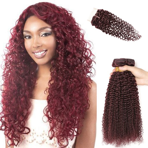 brazilian curly wave human hair extension with closure burgundy weave 8a virgin hair 3 bundles with kinky curly lace closure best sale 99J