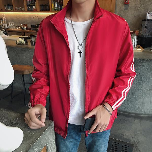 2018 nuova giacca da uomo primavera e autunno moda casual stampa solido due bar giacca