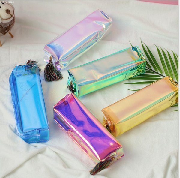 PVC Laser Transparent Pencil Case bags Fashion boys girls students clear Stationery Pen Box Bag School Supply Pouch gifts make up bag best