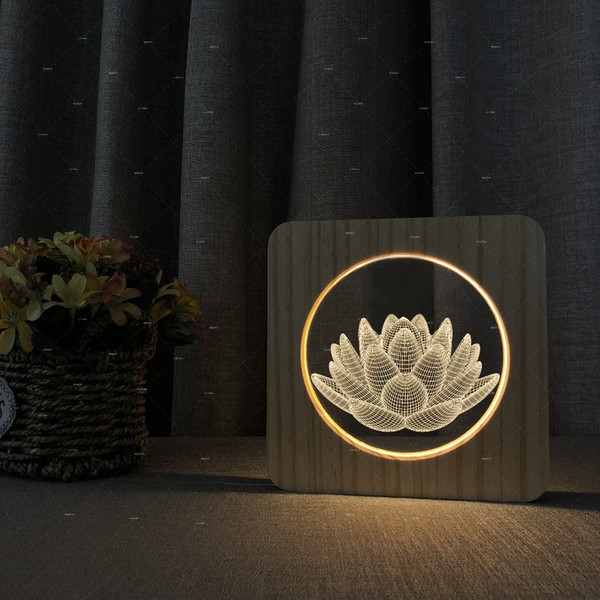 3D lotus design Wood acrylic lamp warm white LED lights gift for artist Support dropshiping table lamp with usb port