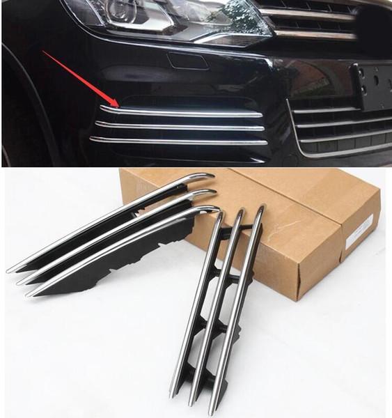 Estilo de coche para VW Touareg 2011-2014 cubierta de rejilla de malla de cromo de alta calidad 2014 cerca del faro antiniebla delantero envío gratis