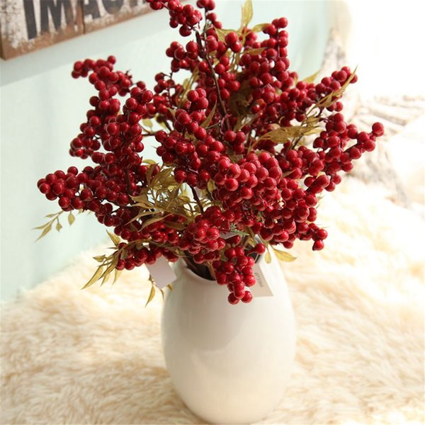 ROSE QUEEN Decoration Artificial Berry Simulation Flowers Bouquet Fruits Home Decoration Foam Christmas Red Berry Artificial Fake Plants