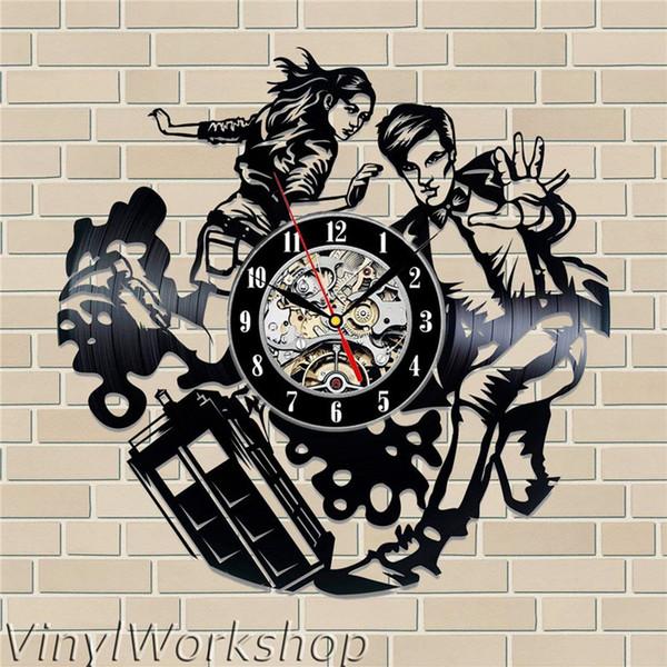 Doctor who vinyl wall clock Brief modern home decor crafts creative handmade gifts office wall art decoration black quartz clock