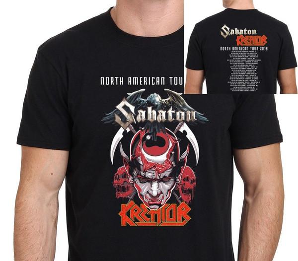 Screen Printing T Shirts Men's New Kreator & Sabaton North American Tour 2018 T-Shirt Men's Black Short Printing O-Neck Shirt
