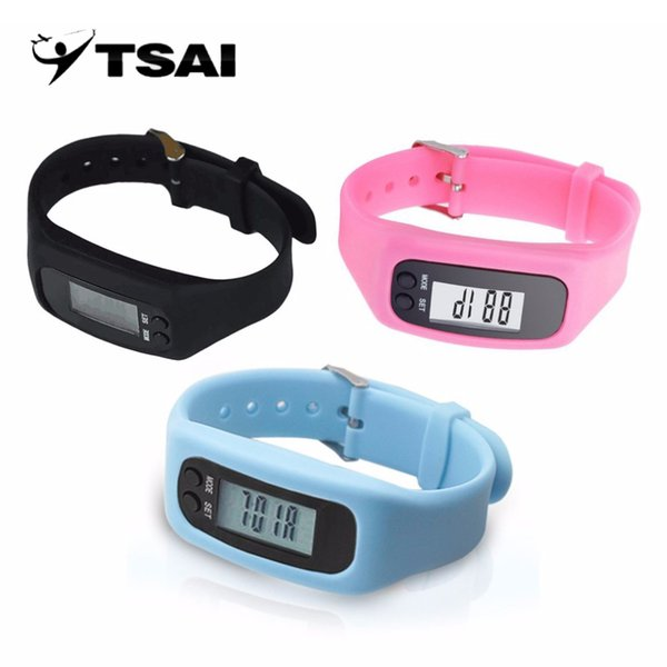 TSAI LCD Smart Wrist Watch Bracelet Pedometer Sport Monitor Running Exercising Step Counter Fitness Silicone Wristband Wholesale