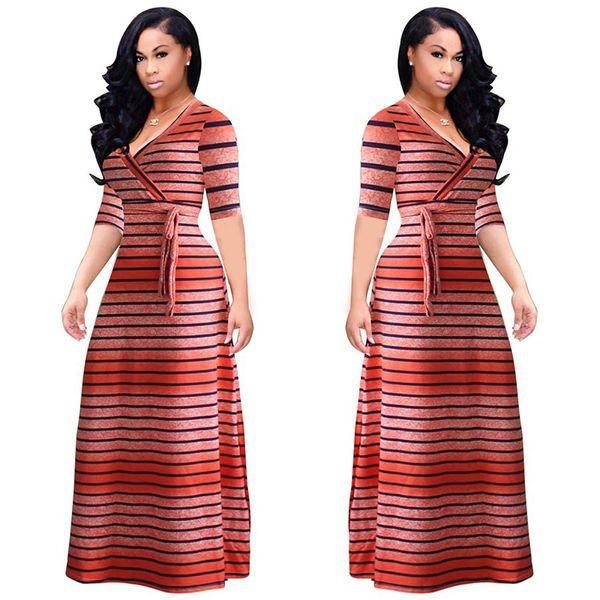 striped dress maxi cotton dress for women elegant v neck long sleeve autumn clothing female tunic long casual dress red blue orange blue