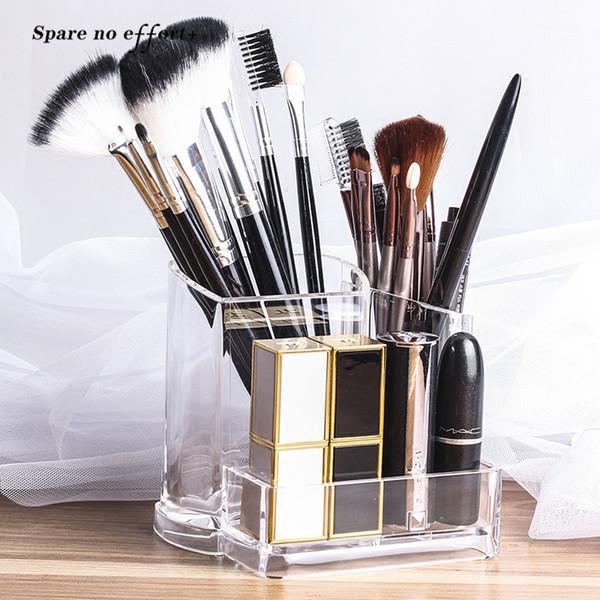 Clear Makeup Brush Kit Holder Organizer Clear Acrylic Makeup Brush Storage Box Organizer for Cosmetic Organizador De Maquillaje