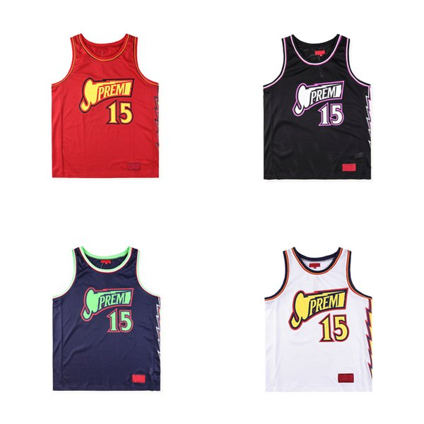 18ss Luxury Europe Box Logo Bolt Basketball Jersey Tshirt Fashion Men Women Sleeveless T Shirt Casual Tee Top Vest
