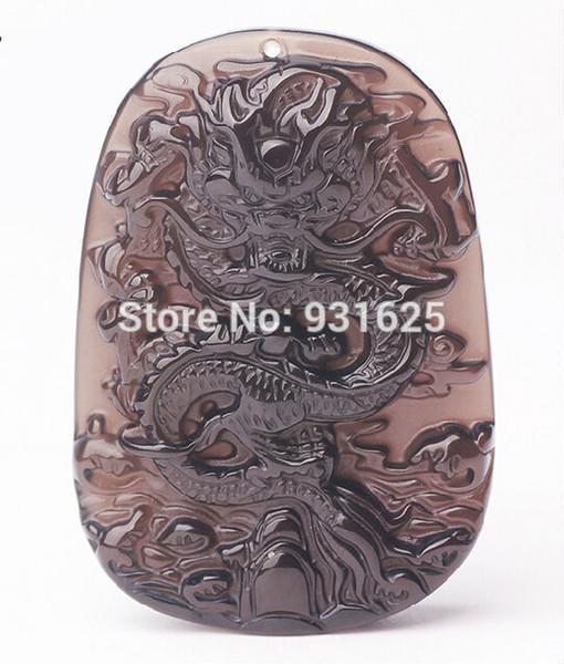 Großverkauf-natürliches Eis-klarer Obsidian geschnitzter Drache-glückliche Amulettanhänger freie Halskette Art und Weise Hand geschnitzte Anhänger-Schmucksachen