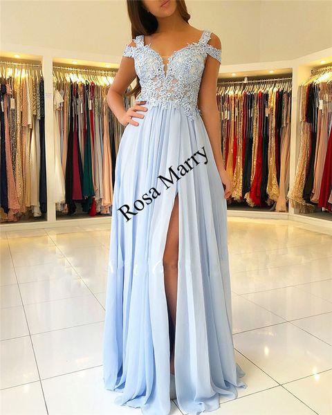 Baby Blue Plus Size Cheap Prom Dresses
