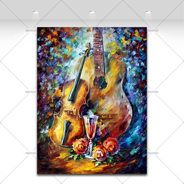 100% Handpainted Music Instrument Oil Painting on Canvas Guitar Violin Red Wine Palee Knife Picture Living Room kitchen Decor