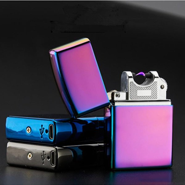 USB Lighter Electronic Cigarette Accessories Torch Pulsed Arc Lighter Windproof Thunder Metal Plasma Cigar Lighter c378