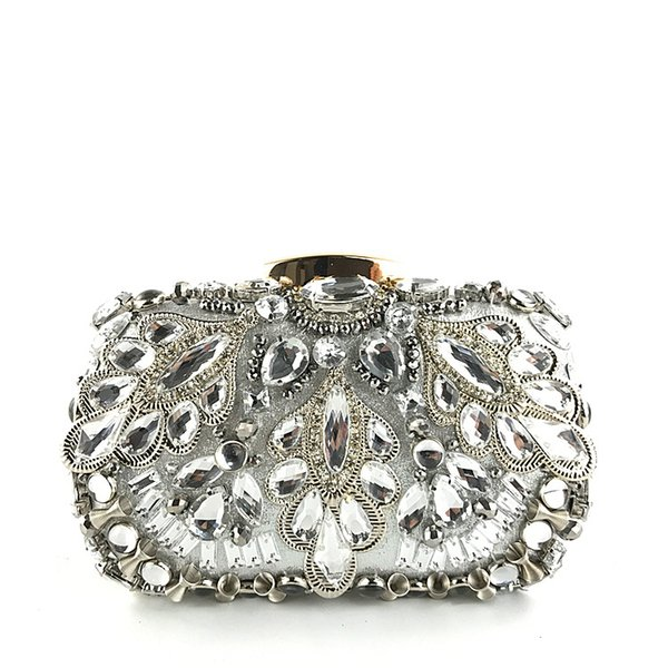 European And American Fashion Ladies Handbag Hard Box Technology Manual Beads Rhine Stone Hand Grab Dinner Bag Skew Spanning Cha