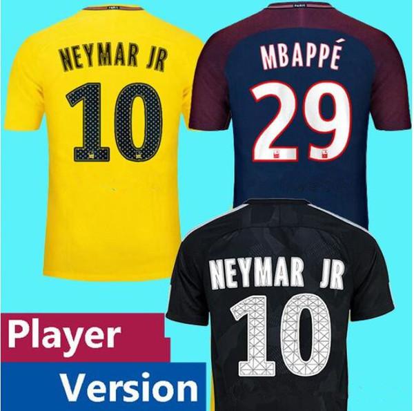 online store 7e610 6c378 2019 Player Version KYLIAN MBAPPE 17 18 NEYMAR JR Soccer Jerseys DANI ALVES  CAVANI DI MARIA 2017 2018 VERRATT DRAXLER Football Shirts From ...