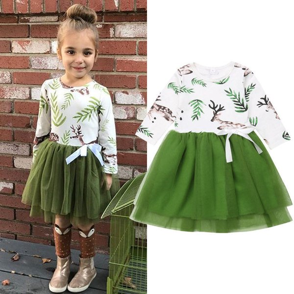 Christmas Girl Lace Flower Dresses Kids Clothing Princess Printed Dress Baby Long sleeve Ins Green Dress Bebe Clothes