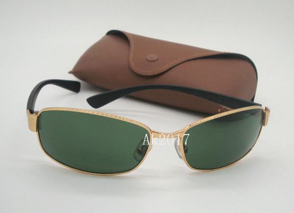 1pair de haute qualité Lunettes de soleil pour hommes Lunettes de sport Lunettes de soleil rectangulaires Gold Frame verres en verre vert 62mm avec Cases Brown