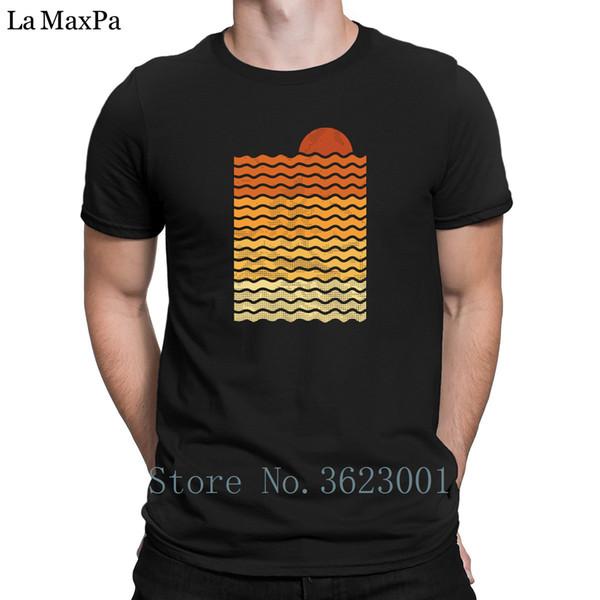 Personnalisé Slim T-Shirt Homme Coucher De Soleil Sur La Plage Hommes Tshirt Printemps Automne Le Nouveau T-shirt Impressionnant Tee Shirt O Cou De Haute Qualité