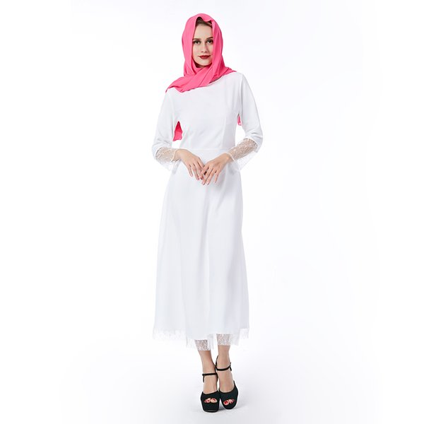 Beauty Garden Muslim women Long sleeve Dress maxi abaya White islamic women Loose dress clothing lace robe kaftan fashion
