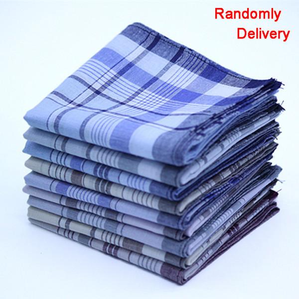 Hot Sale 10PCS Striped Plaid Man S Party Square Handkerchiefs 38 *38cm Fashion Cotton Handkerchiefs Fabric Hanky Male Pocket Square