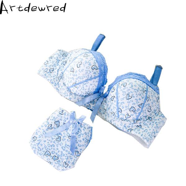 2018 Intimates Brand lingerie lace Sexy Bra Set Bow Underwear Women Bra Push Up Brief Sets Brassiere Set For Girl