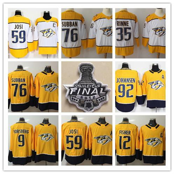 Predators 2018 de Nashville 76 PK Subban 35 Pekka Rinne 59 Roman Josi 92 Ryan Johansen Maillot de hockey Mike Fisher Finale de la Coupe Stanley 2017 S-3XL
