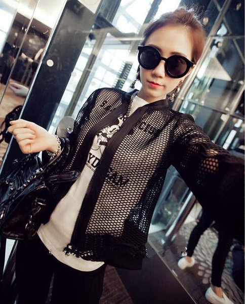 Wholesale- New 2016 Summer Slim Fit Hole Mesh Net Jacket Women Korean Famous Brand Casual Black And White Hollow Out Coats Manteau