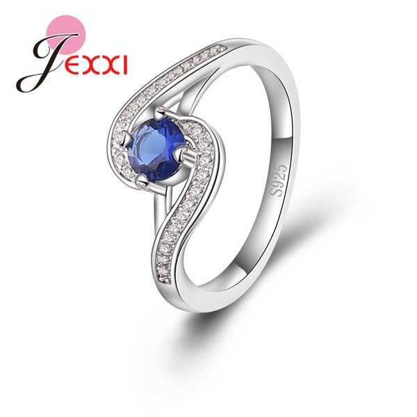 JEXXI Real Pure 925 Sterling Silver Rings For Women Bridal Clear Blue Crystal Stone Trendy Wedding Engagement Femme Jewelry